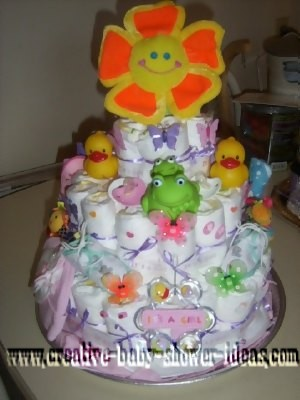 sunshine flower diaper cake