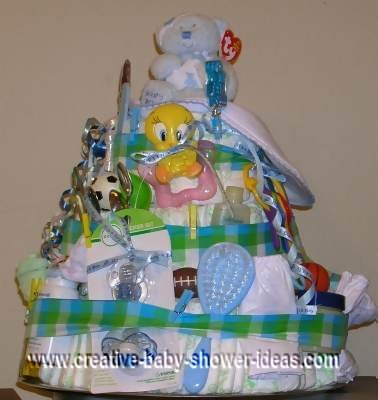 blue and green plaid diaper cake