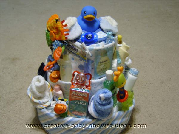 blue ducky diaper cake