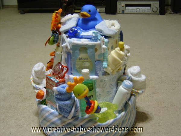 blue duck diaper baby cake