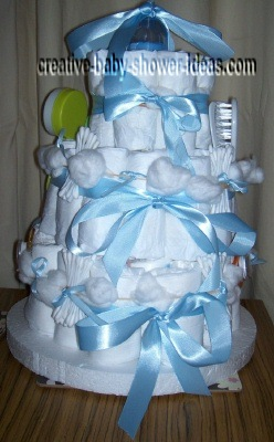 front of baby boy diaper cake