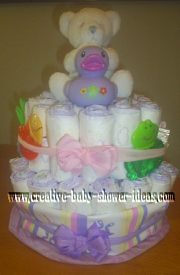 lavender duck and bear diaper cake