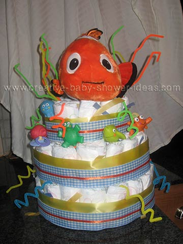 orange finding nemo diaper cake