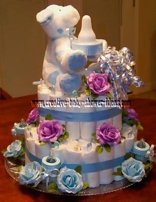 blue and lavender flowers diaper cake