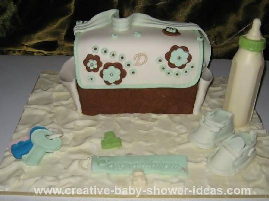 green and brown diaper bag cake
