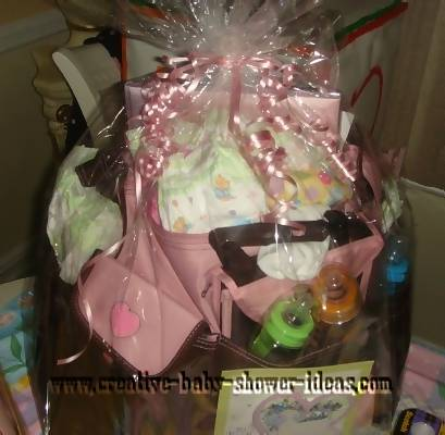 diaper bag baby shower gift wrapped in celophane