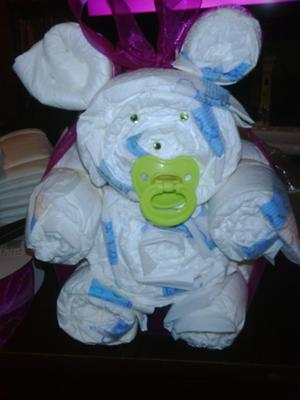 diaper bear with green pacifier