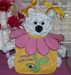 diaper bear with cute flower bib