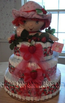 strawberry shortcake diaper cake