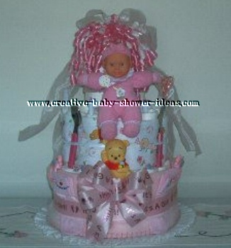 pink baby doll diaper cake
