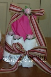 closeup of mod stripes diaper cake