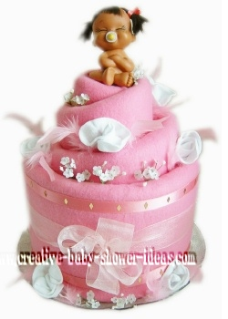 pink blanket baby doll diaper cake