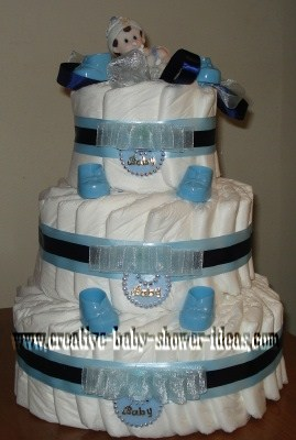 blue doll diaper cake