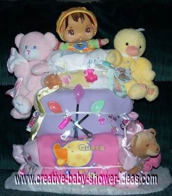 colorful dolls diaper cake