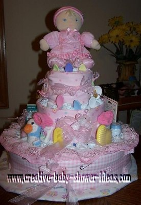 light pink girl doll diaper cake