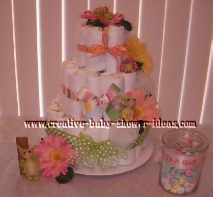 polka dot pocket dragon diaper cake