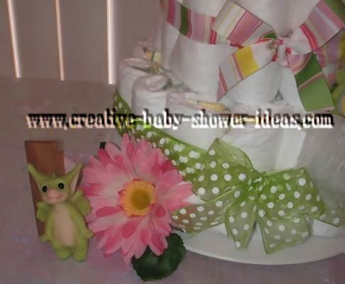 right side of pocket dragon diaper cake