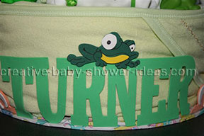 closeup of baby boy letters on diaper cake