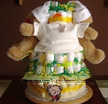 twin sleepy bear diaper cakes