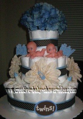 blue twins mod polka dot diaper cake