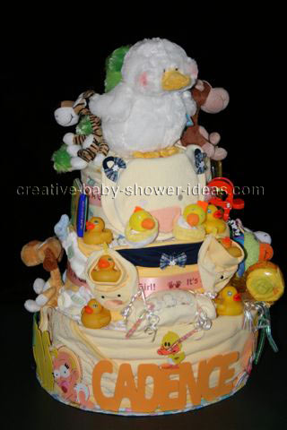 twin duck diaper cake