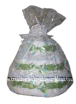 green and white diaper cake centerpiece