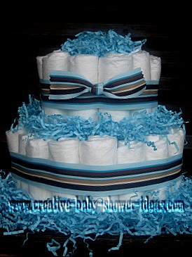 blue mod stripes diaper cake