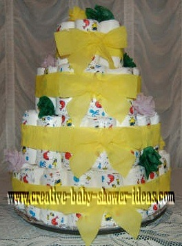 yellow and green diaper cake