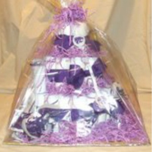 finished kansas state diaper cake wrapped in cellophane