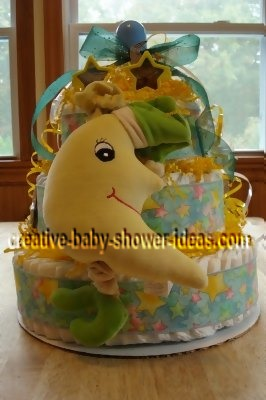 happy moon and stars diaper cake decoration