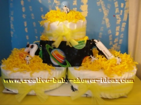 nasa moon diaper cake