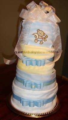 blue and yellow moon diaper cake