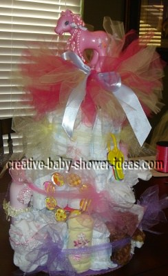 pink my little pony diaper cake