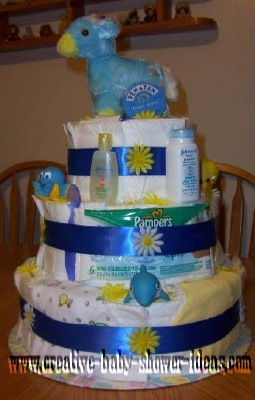 blue and yellow horse diaper cake