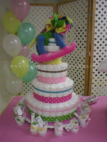 colorful rocking horse diaper cake