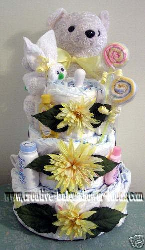 white teddy bear with yellow flowers diaper cake