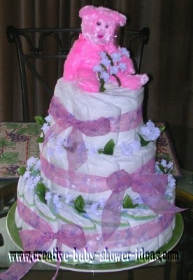 bright pink teddy bear diaper cake instructions