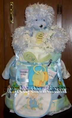 blue bear diaper cake instructions