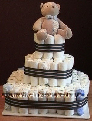 brown bear and stripes diaper cake