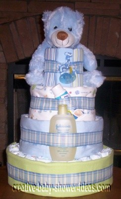 blue plaid bear diaper cake