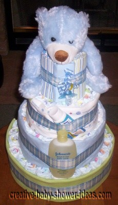 top view of blue bear diaper cake
