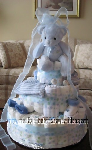 blue bear diaper cake with sheer blue bow