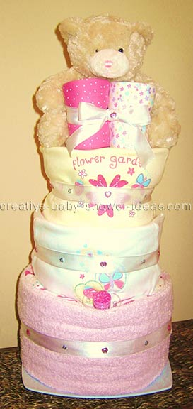 pink and cream bear diaper cake