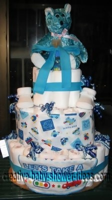 blue bear boy diaper cake