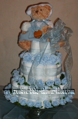 blue bear and roses diaper cake