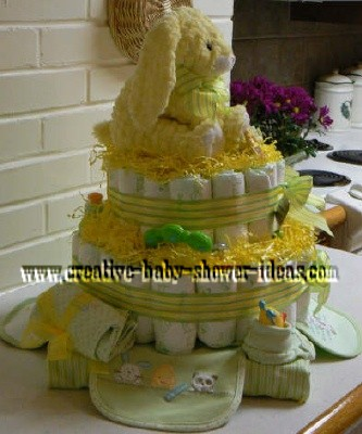 other side of yellow bunny diaper cake