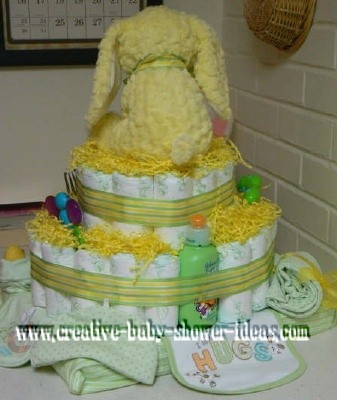 back of yellow bunny diaper cake
