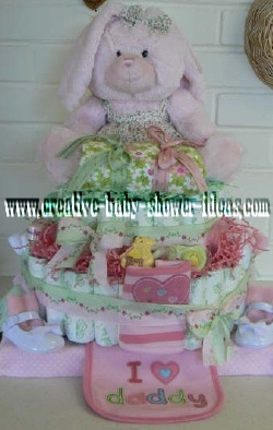 pink bunny in a floral dress diaper cake