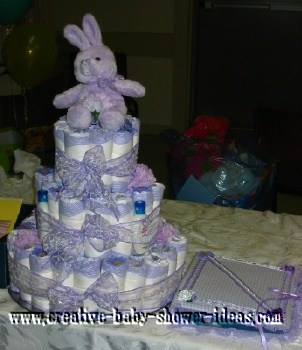 lavender bunny and bows diaper cake