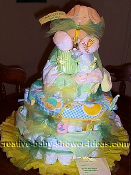 yellow and pink bunny diaper cake